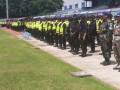 Antisipasi Antusias Penonton Sepakbola, TNI- Polri Gelar Apel Pengamanan Sepakbola di Stadiun Surajaya Lamongan