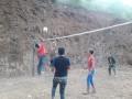 Satgas TMMD Bersama Kartar Uji Coba Lapangan Bola Voli